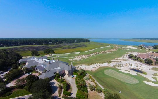 Aerial view of the golf course at Colleton River